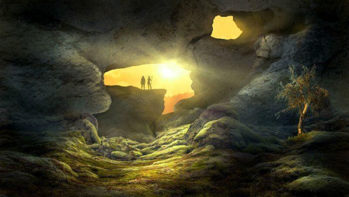 אור שמש שנכנס למערה קדמונית